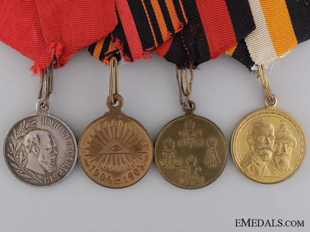 A Russian Imperial Medal Bar of Four Awards