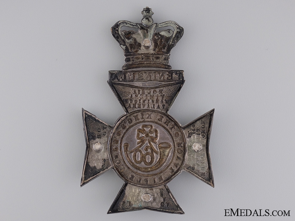 An 1883 Silver Victorian 60th King's Royal Rifles Helmet Plate