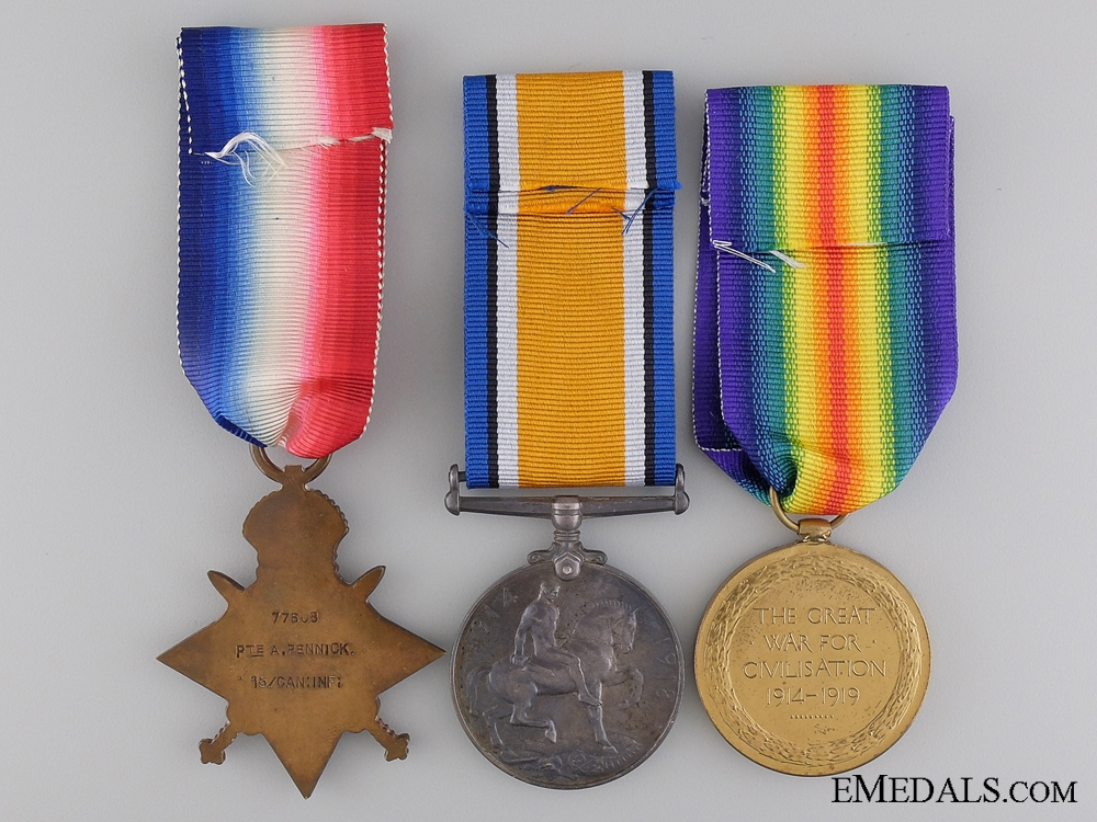 A First War Medal Trio to the 15th Infantry Battalion CEF