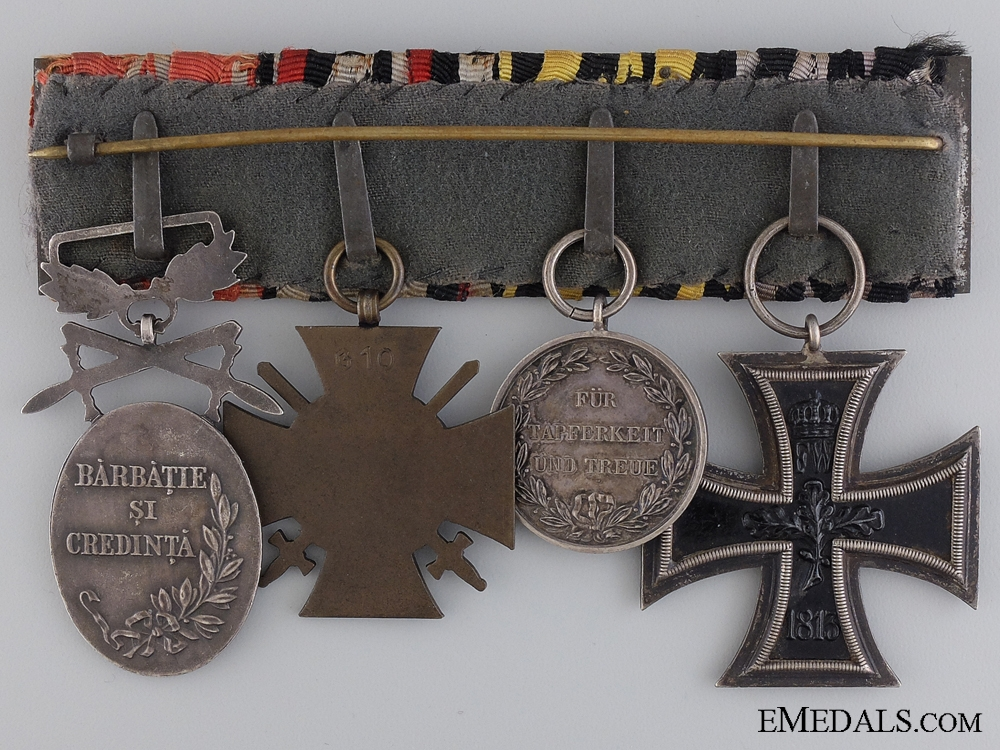 An WWI Iron Cross & Bulgarian Medal Group; Marked Paul Hossauer