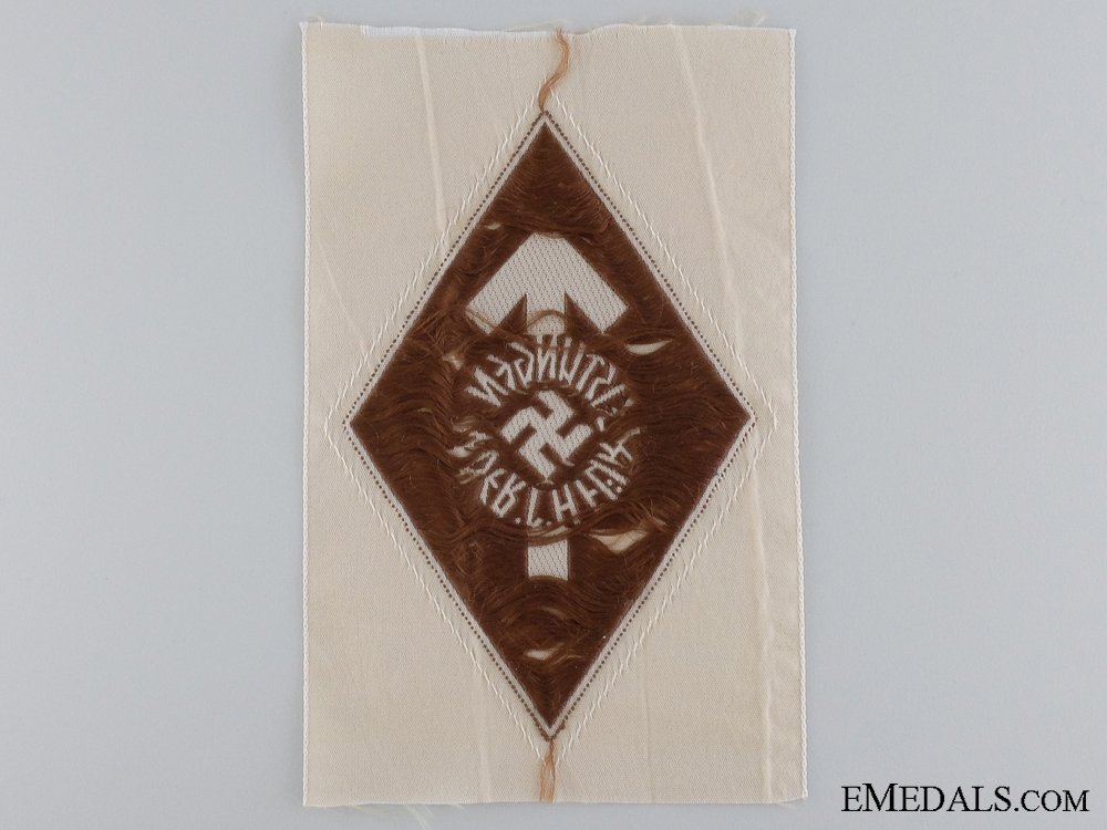 A HJ Proficiency Cloth Shirt Badge; Bronze Grade