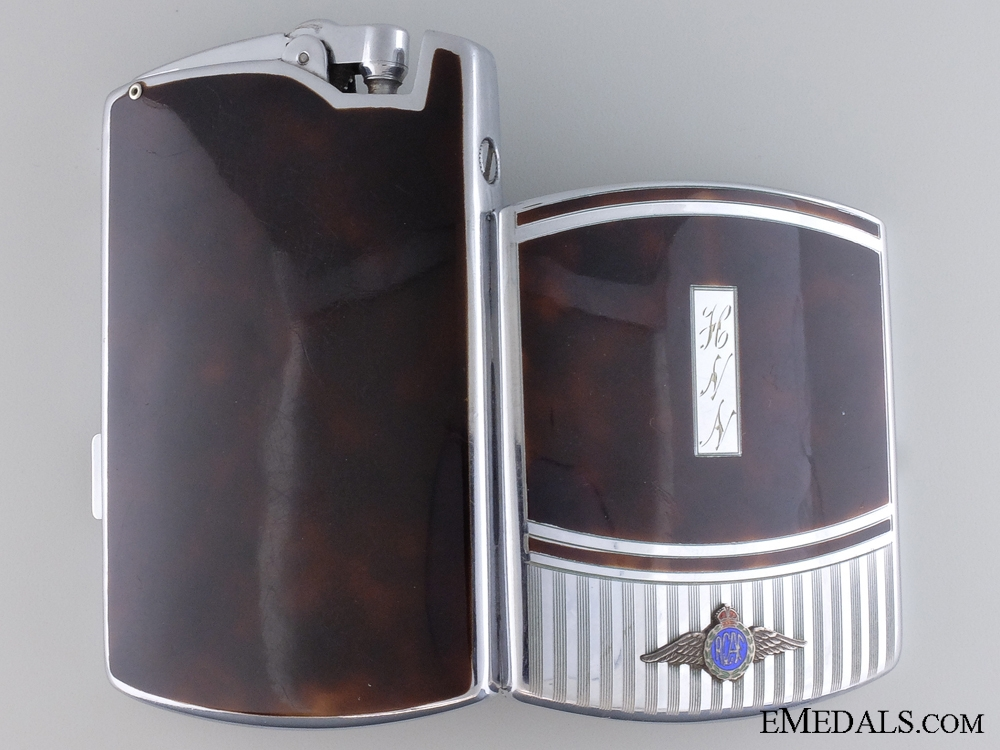 An 1941 RCAF Ronson Cigarette Case with Inset Lighter