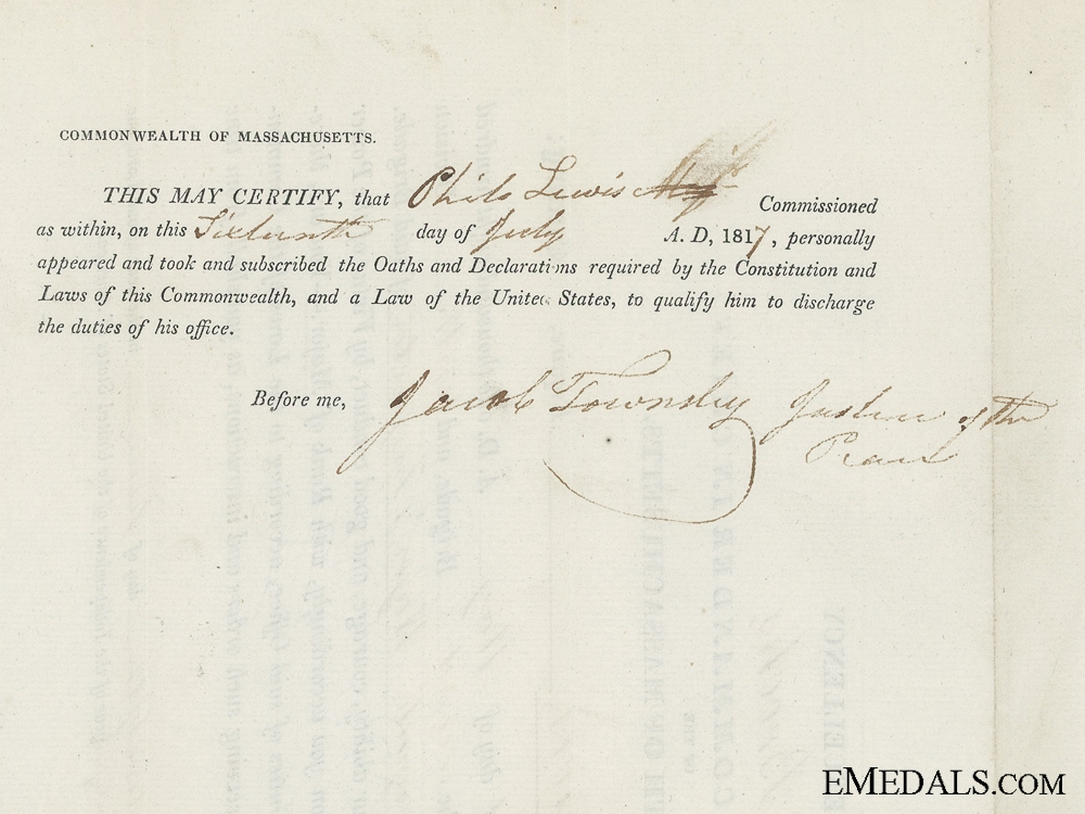 An 1817 Massachusetts Militia Commission Document to Brigade Major Lewis