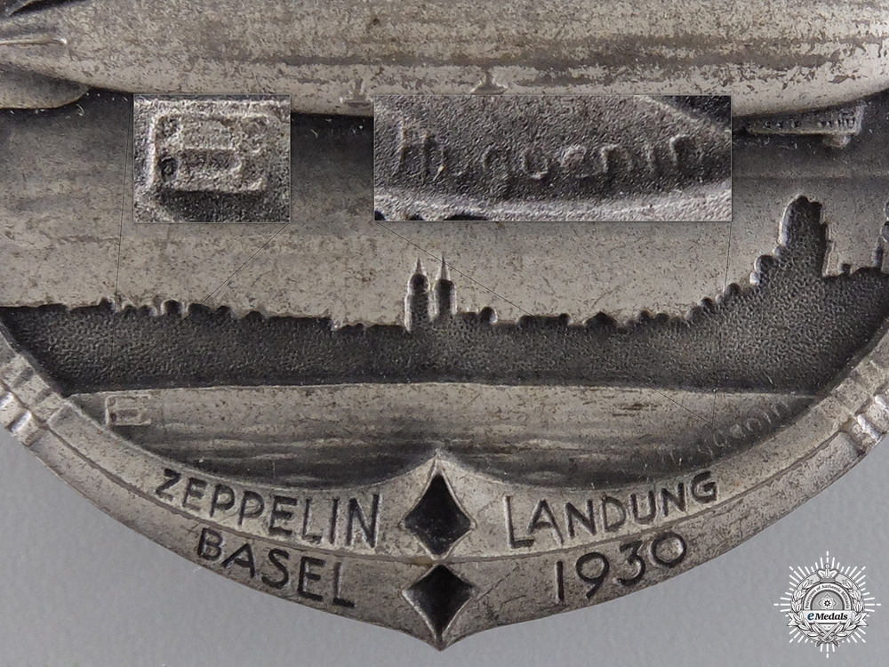 A 1930 Swiss Zeppelin Landing in Basel Badge