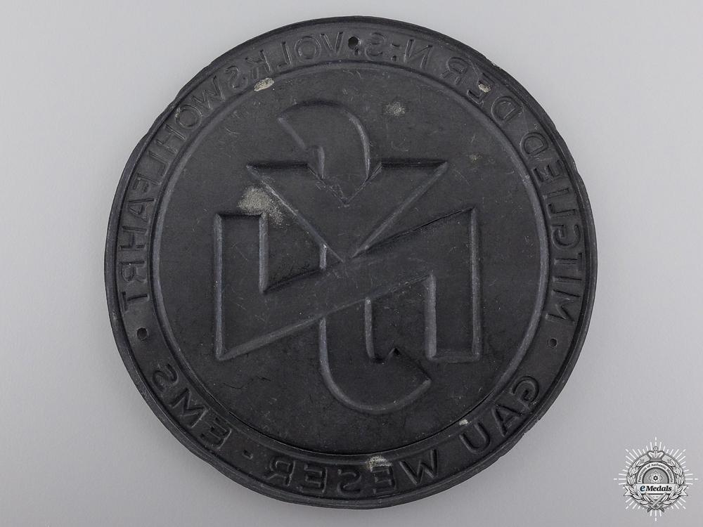 A National Social People's Welfare (NSV) Weser-Ems Door Plate