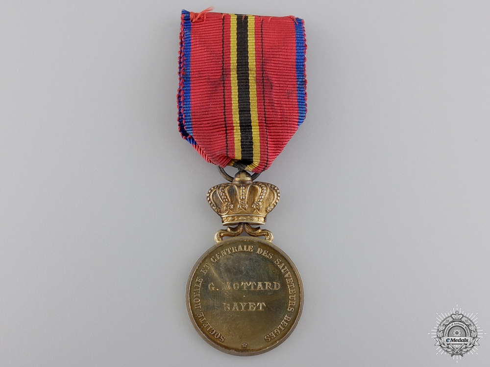 A Belgian Life Saving Society Medal; Gold Grade