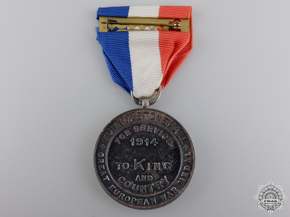 A WWI Town of Stonewall Welcome Home Medal to Captain Ridley