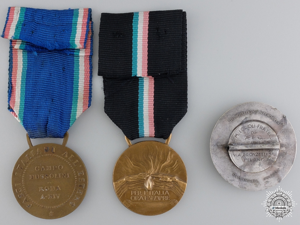 Three Italian Medals and Badges