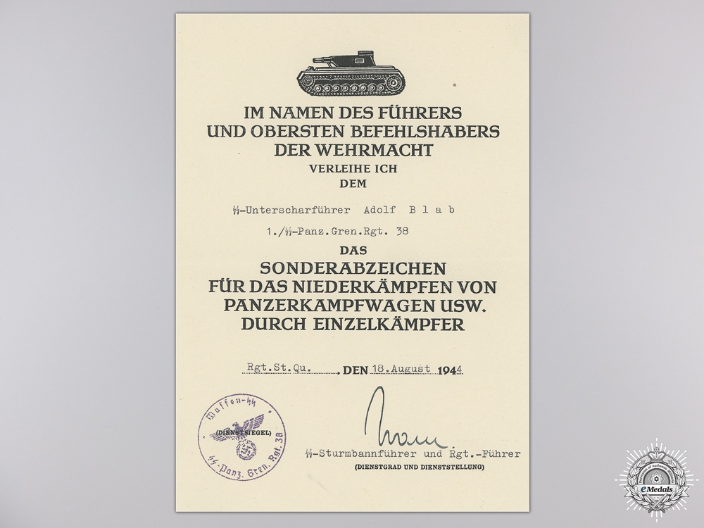 A Fine SS Panzer Gren. Rgt. Normandy POW Document Group