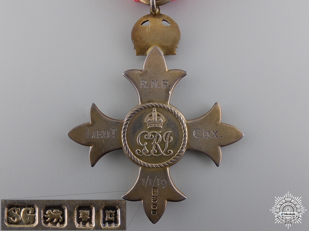 A First War MBE to Lieutanant Cox; Royal Naval Reserve