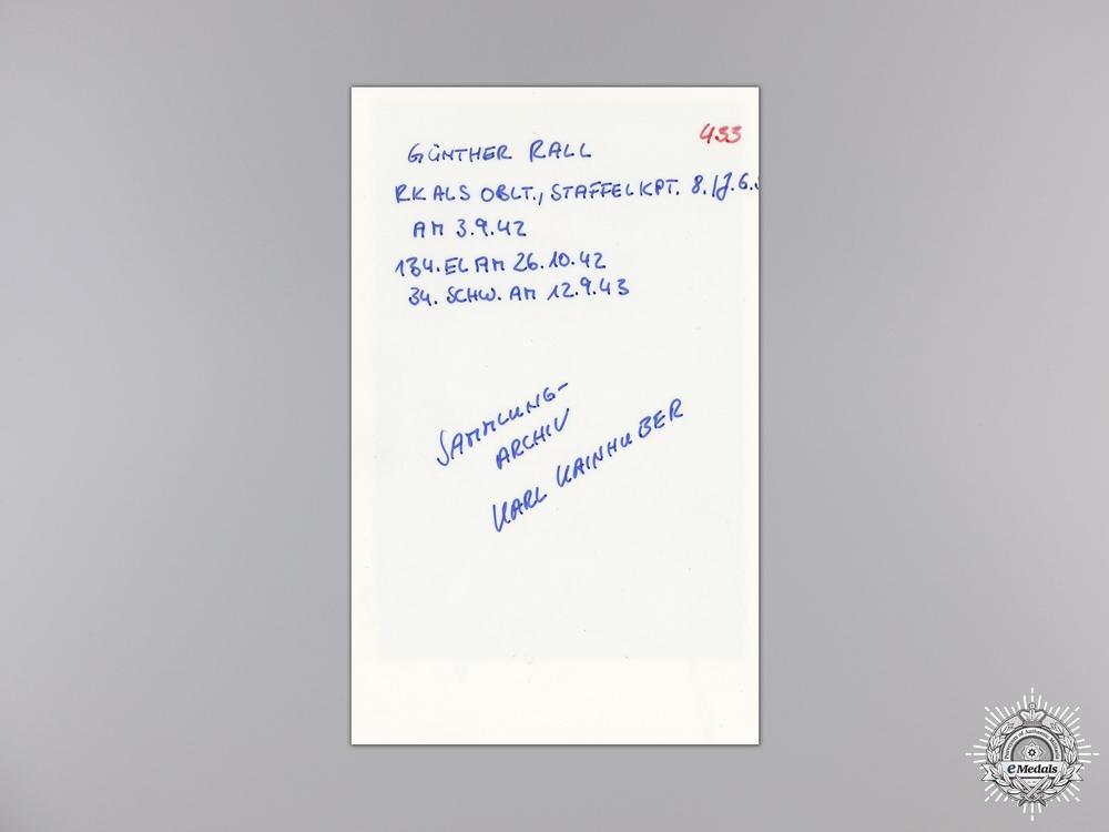 A Post War Signed Photograph of Knight's Cross Recipient; Rall