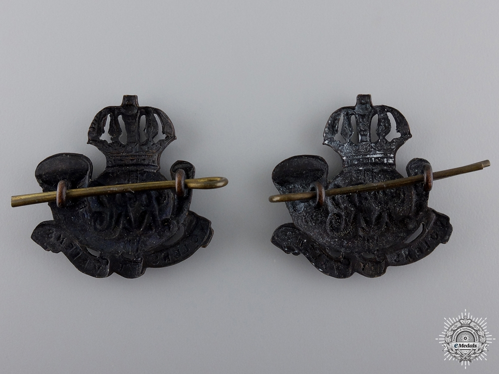 A Pair of Inter-War Royal Rifles of Canada Collar Badges