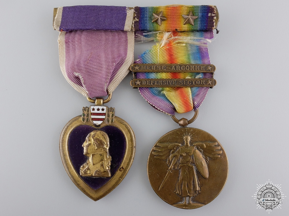 A First War American Purple Heart Pair to the 115th Infantry AEF