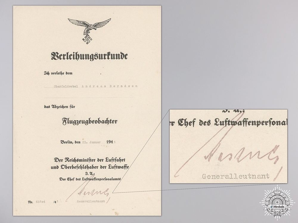 A Luftwaffe Document Grouping to Observer Andreas Berndsen