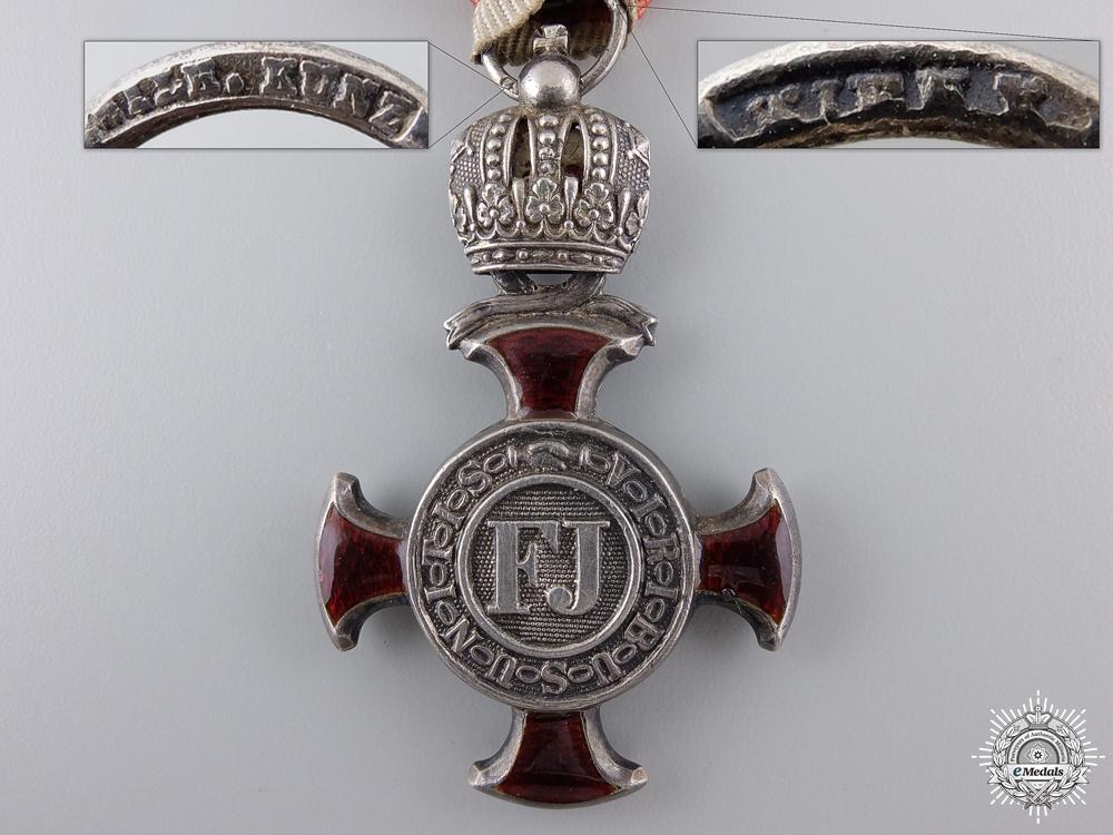 An Austrian Silver Cross of Merit with Crown by W.Kunz