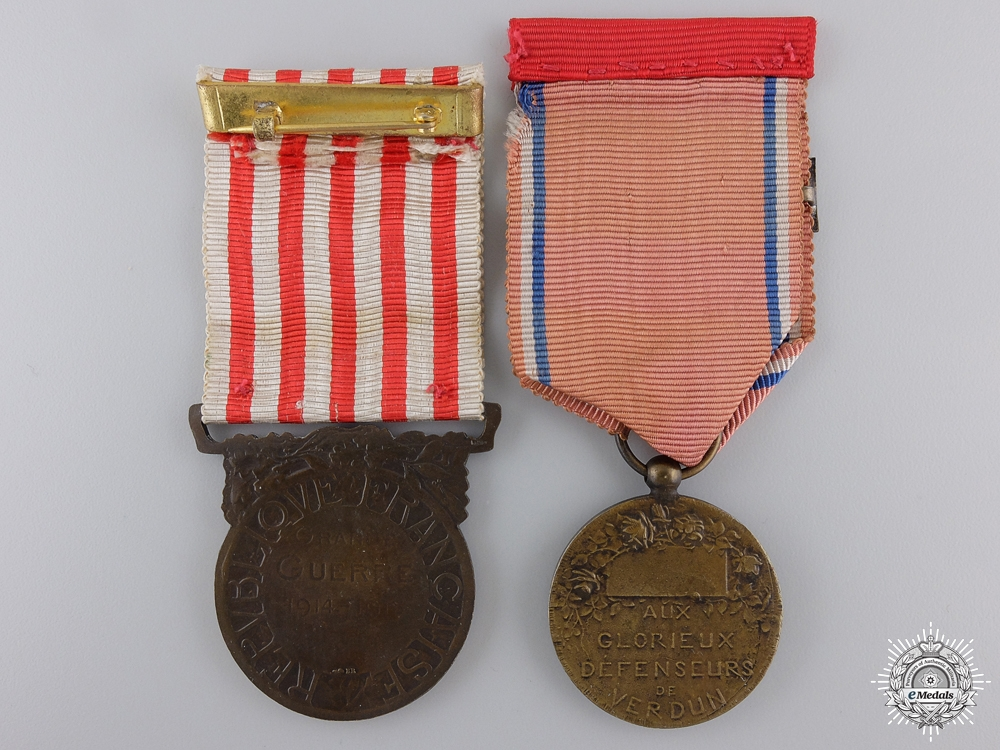 Two First War French Campaign Medals; Verdun