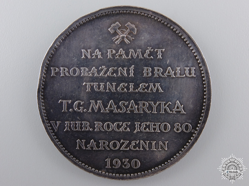 A 1930 T.G. Masaryk-Bralsky Railway Tunnel Medal