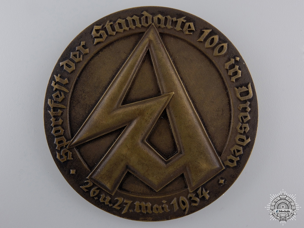 A 1934 Sports Fest Table Medal of the 100th SA Standarte Dresden