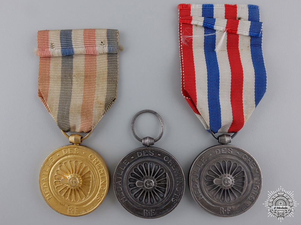 Three French Medals of Honour for Railway Service