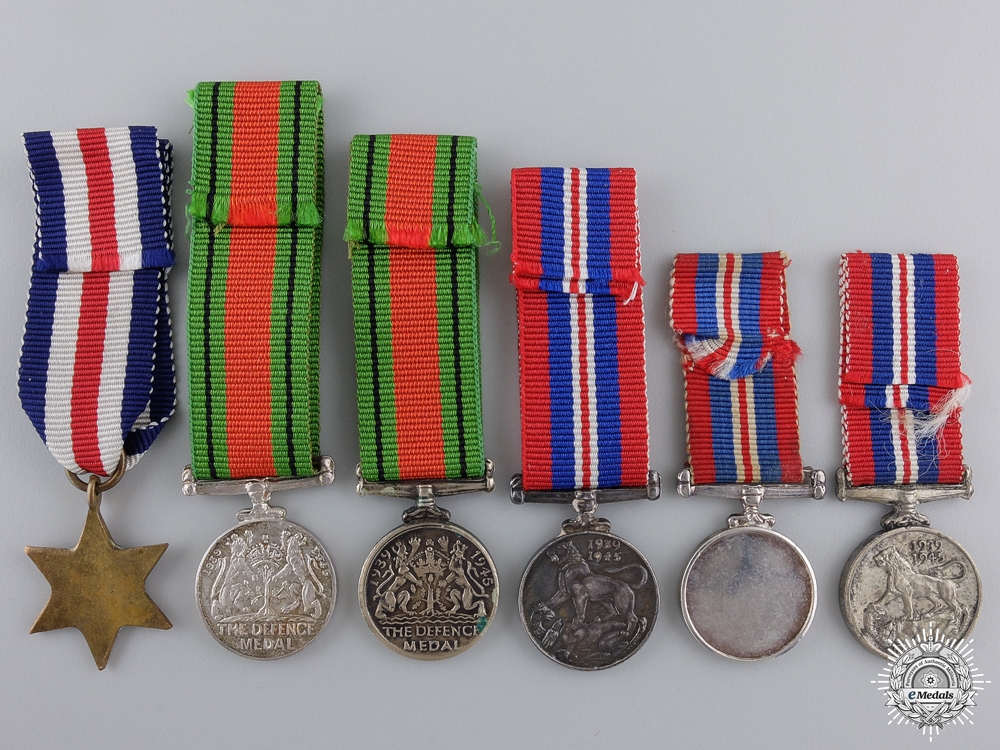 Six Miniature Second War Service & Campaign Medals