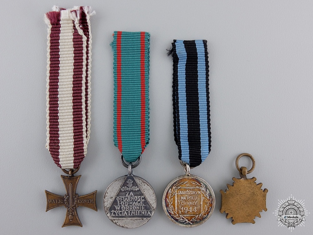 Four Polish Miniature Medals