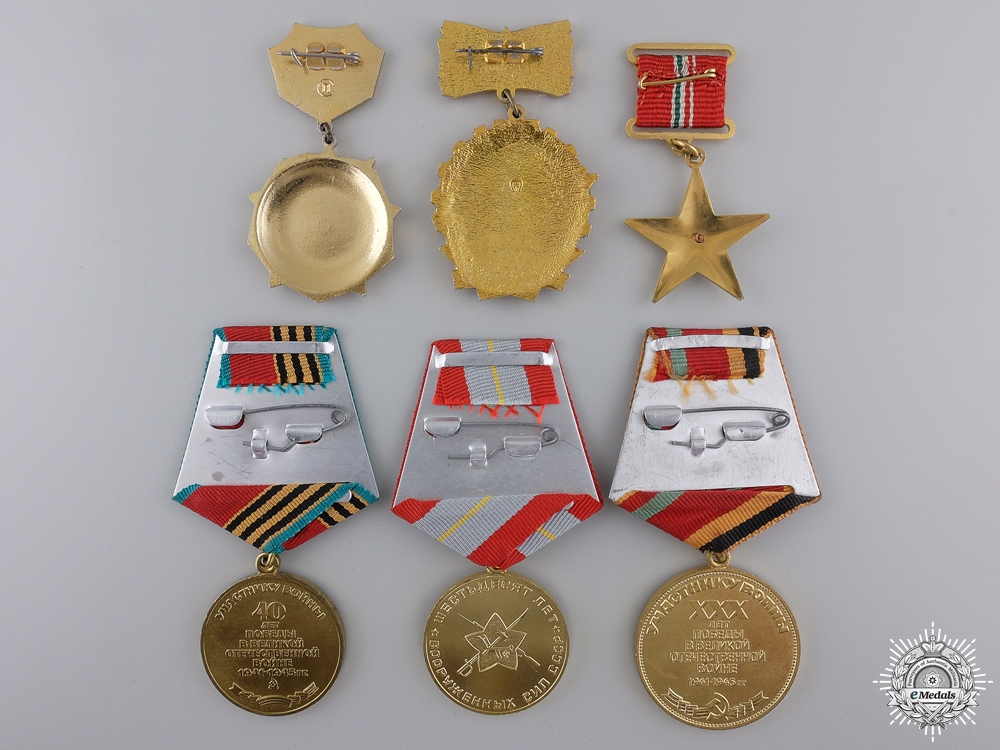 Six Russian & Hungarian Medals and Badges