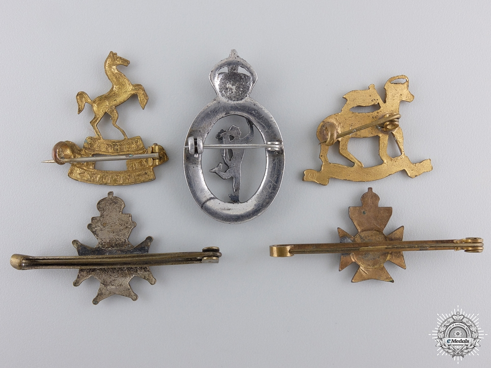 Five First War British Regimental Badges
