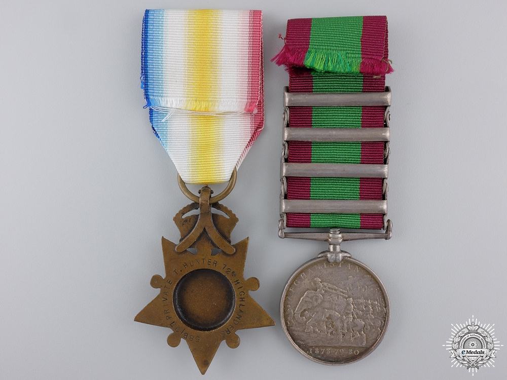An Afghanistan Conflict Pair 1878-1880 to the 72nd Regiment of Foot  Consignment 21