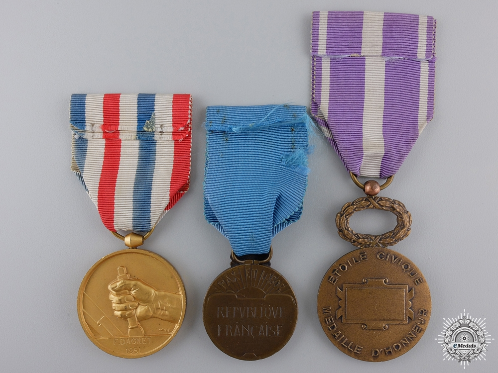 Three Civil French Medals of Honour