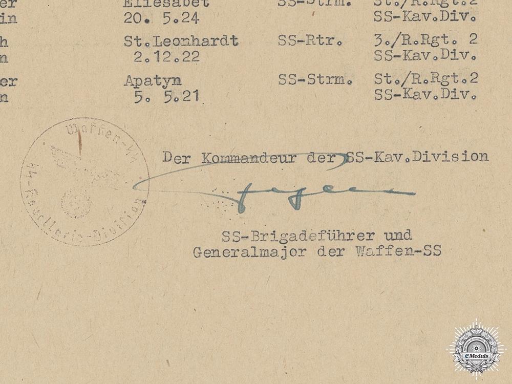 A Signature of SS Panzer Commander Hans Fegelein