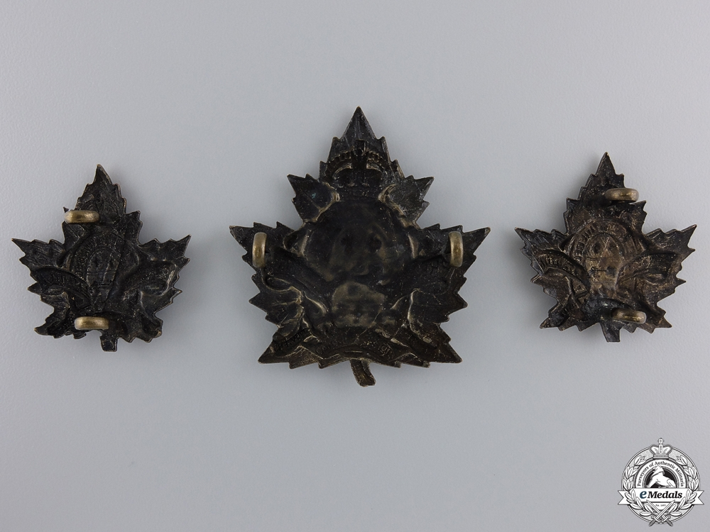 A First War 1st Depot Battalion; 2nd Quebec Regiment Insignia Set