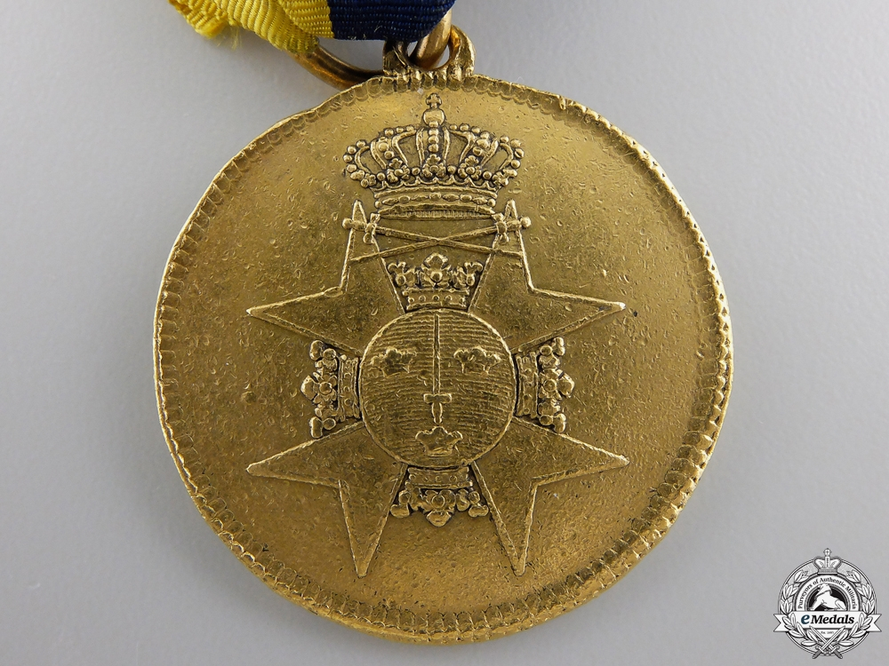 A Scarce 1809-18 Swedish Gold Officers Medal for Bravery