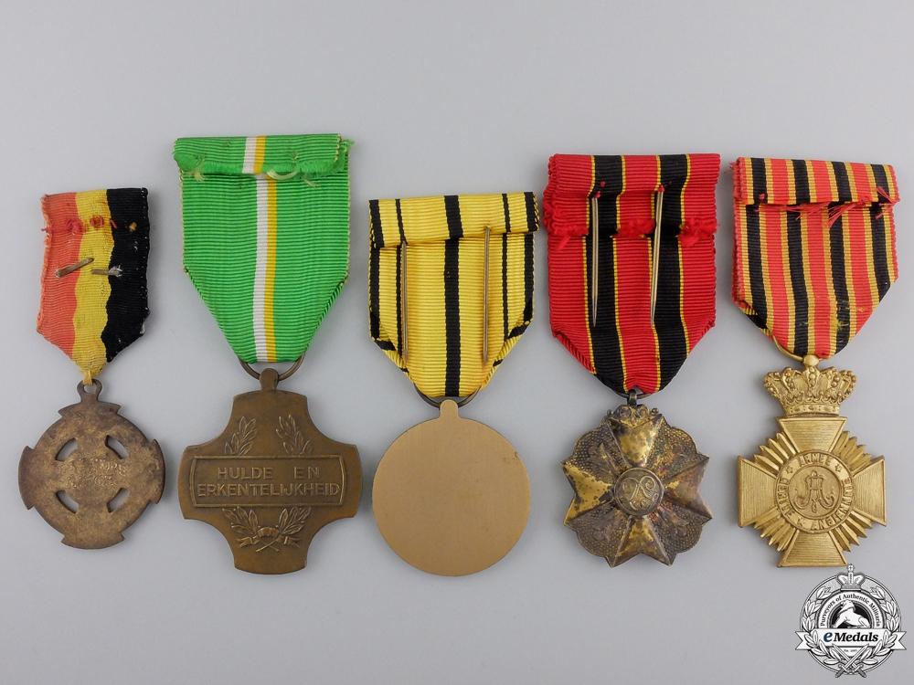 Five Civil Belgian Medals & Awards