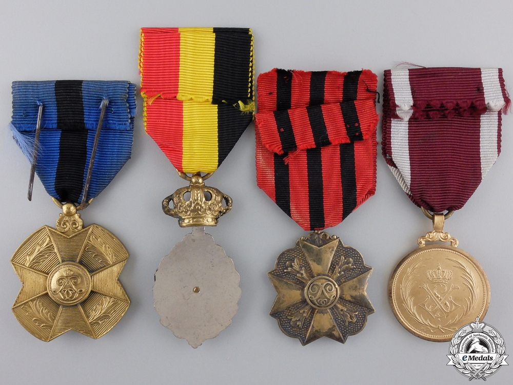 Four Belgian Medals, Orders, and Awards