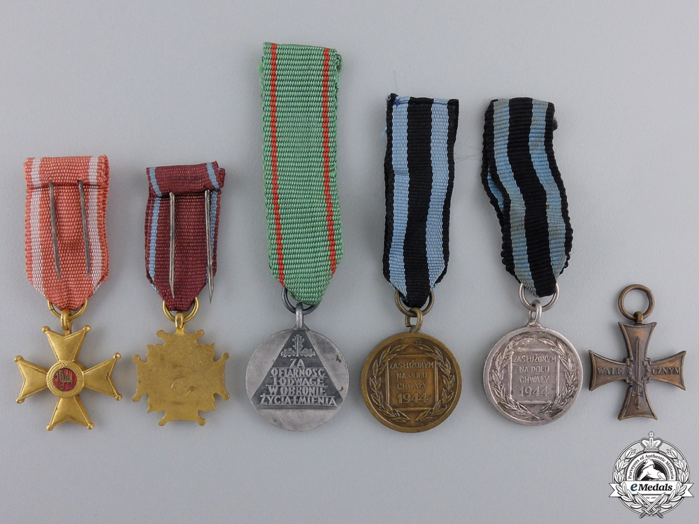 Six Polish Miniature Medals & Awards