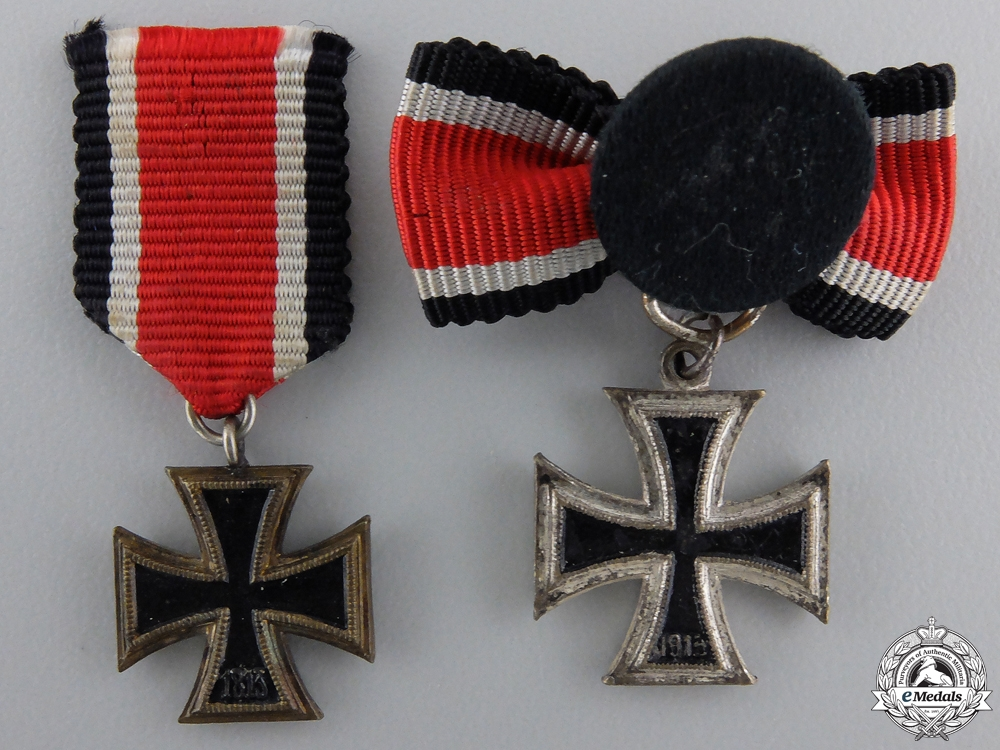 Two Miniature Iron Crosses Second Class 1939