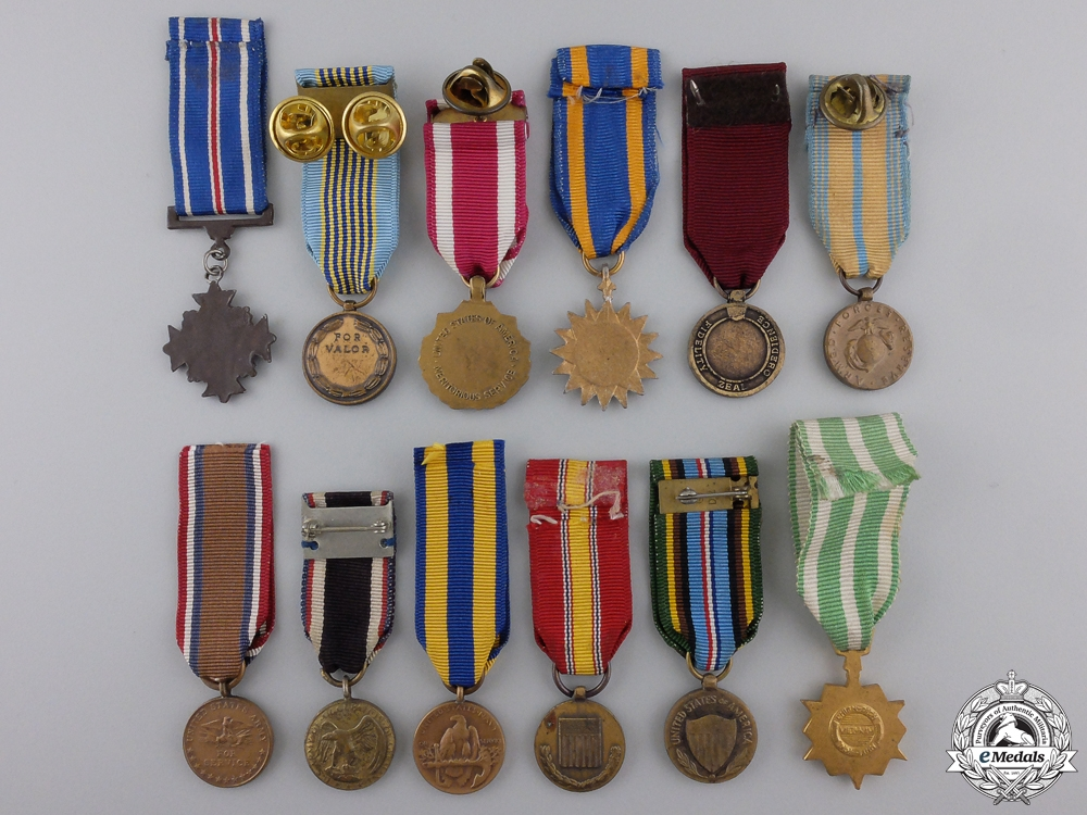 Twelve Miniature American Service and Campaign Medals