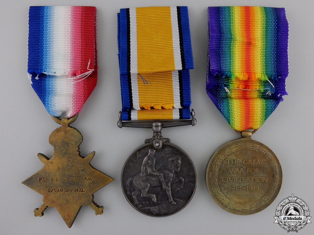 A First War Medal Trio 2nd Canadian Division Headquarters