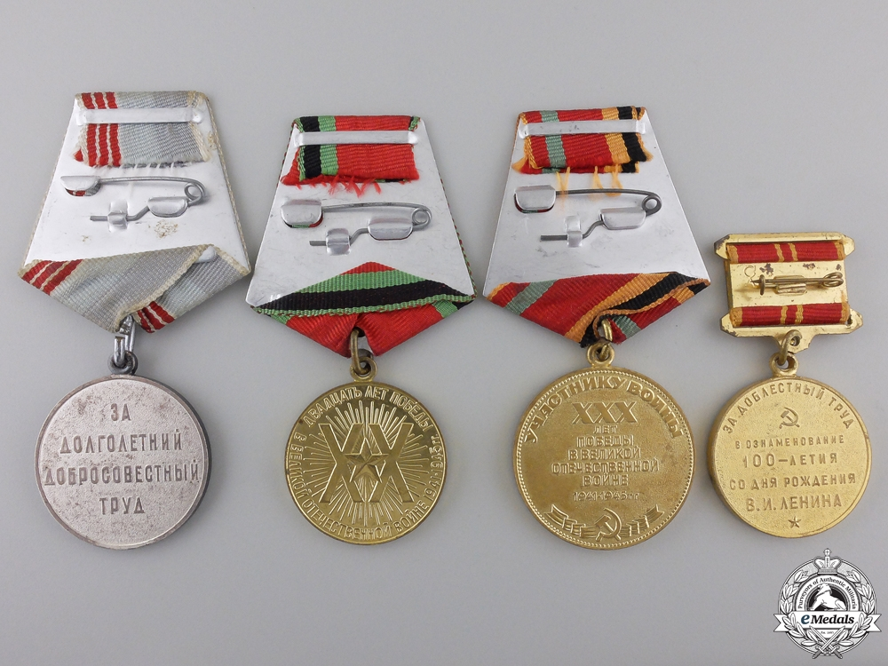 Four Soviet Russian Medals and Awards