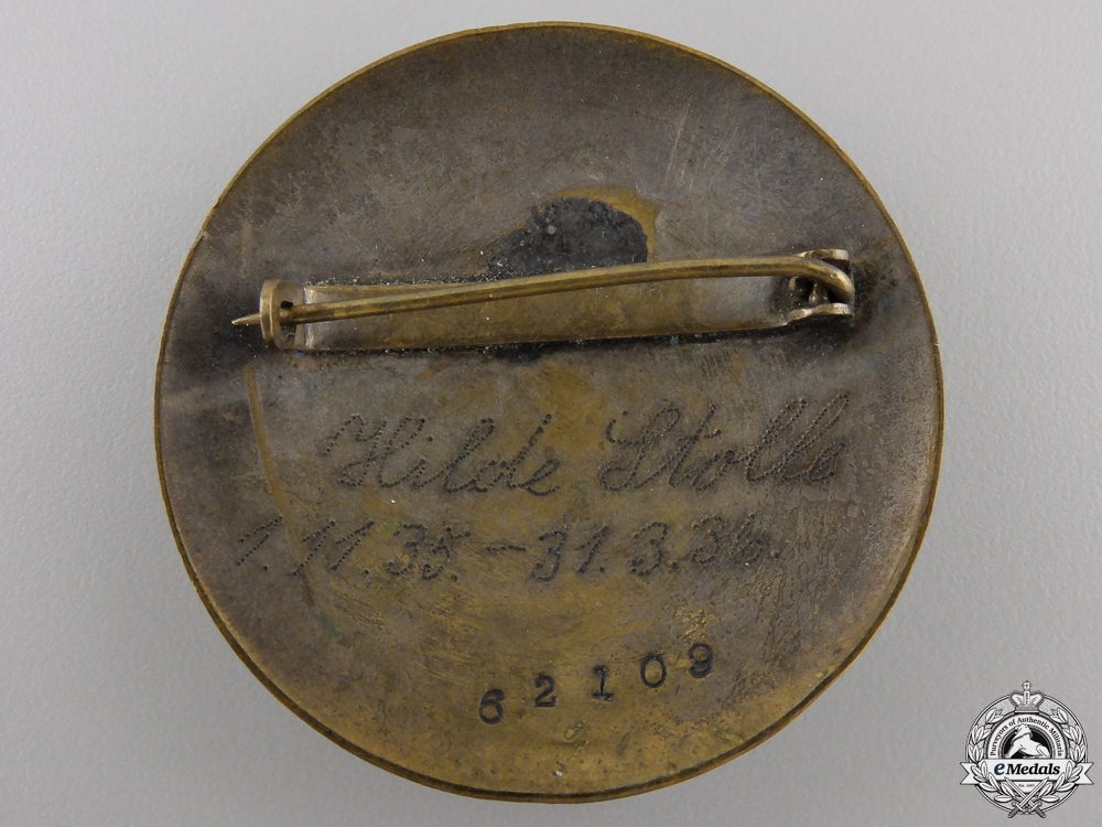 A German Women's Labor Service Rank Brooch; Named