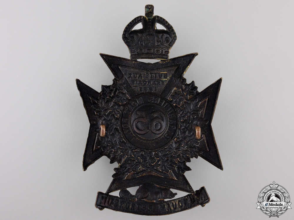 A Victorian 65th Battalion Mount Royal Rifles Helmet Plate