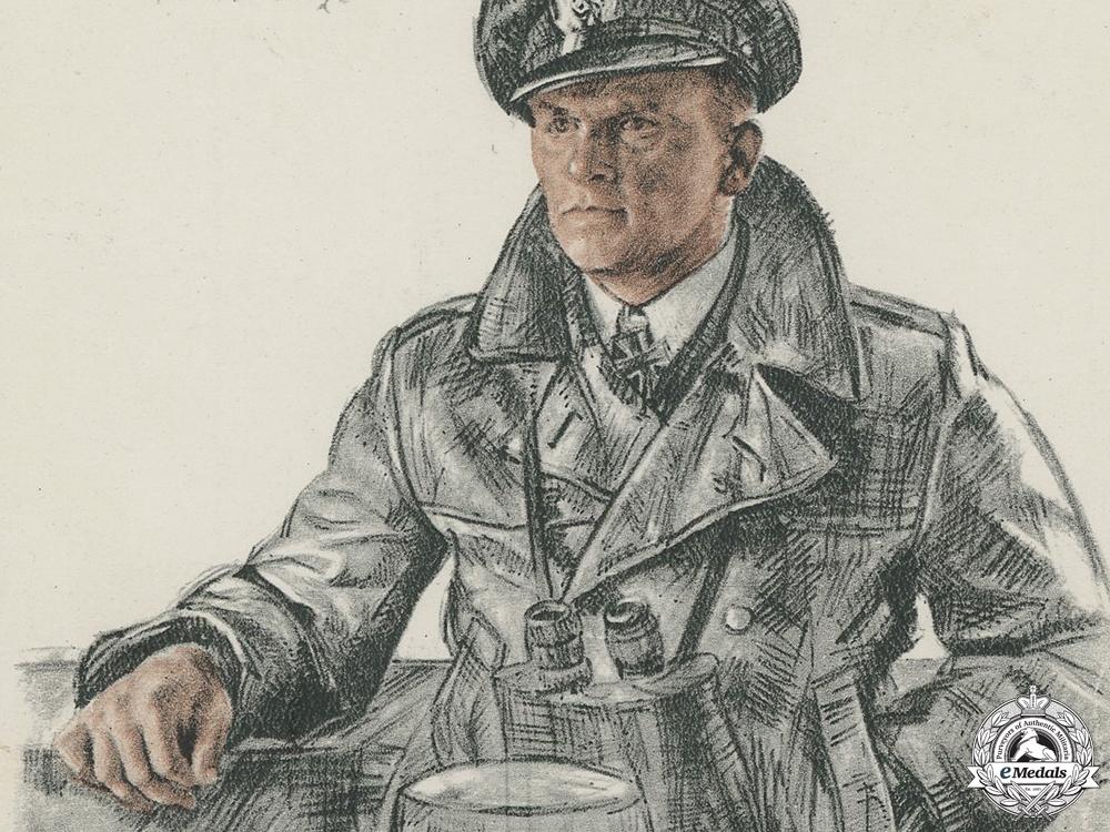 A Wartime Signed Kreigsmarine Knight's Cross Winner Postcard; Schultze