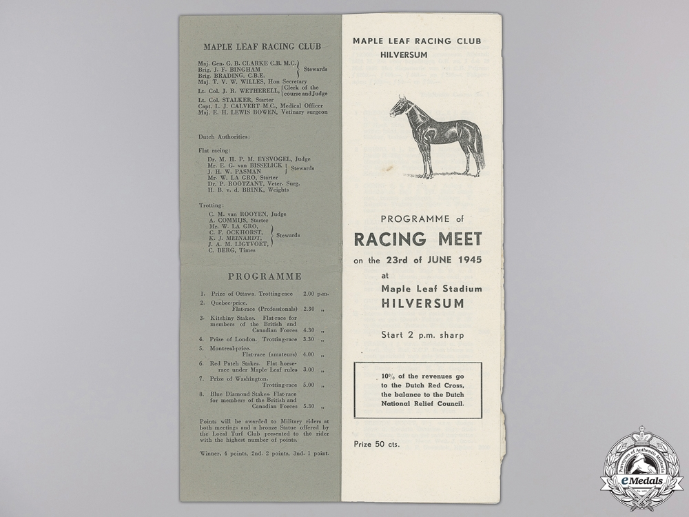 A Second War Maple Leaf Racing Club Hilversum Programme 1945