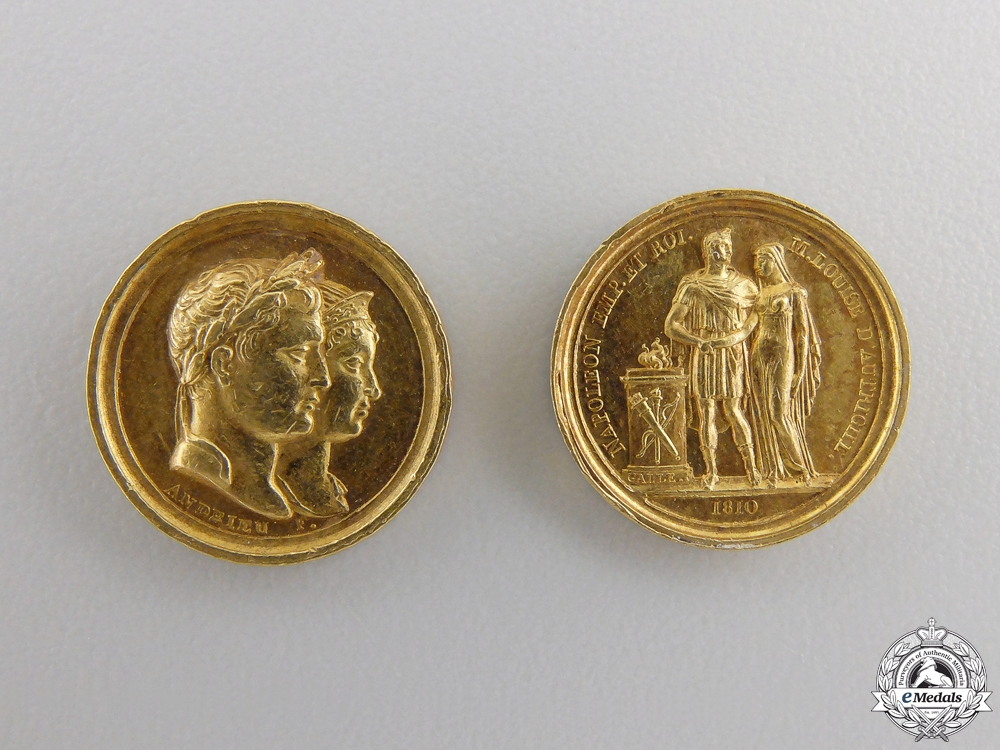 Two Framed Gold Napoleonic Commemorative Tokens