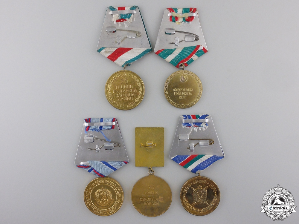Five Bulgarian Construction Corps Medals
