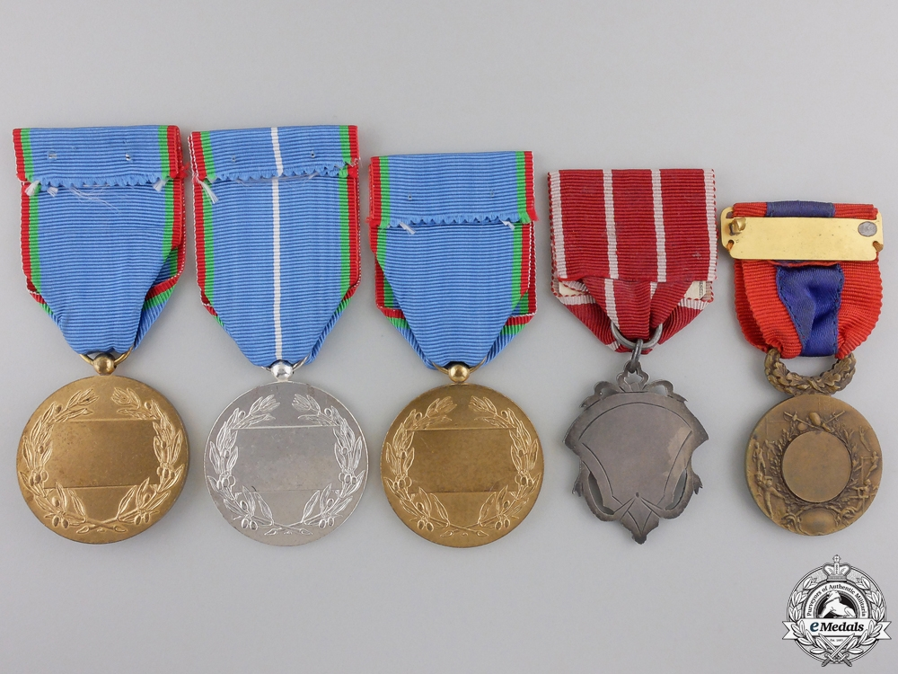 Five French Tourism and Sport Medals