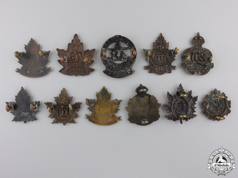 Eleven First War Canadian Infantry Battalion Collar Badges