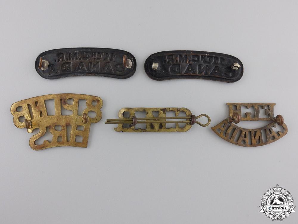 Five First War Canadian Shoulder Titles