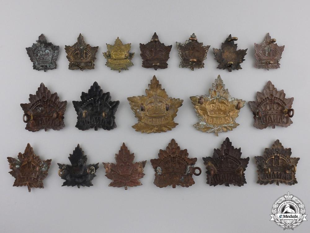 Eighteen First War Canadian General Service Cap & Collar Badges