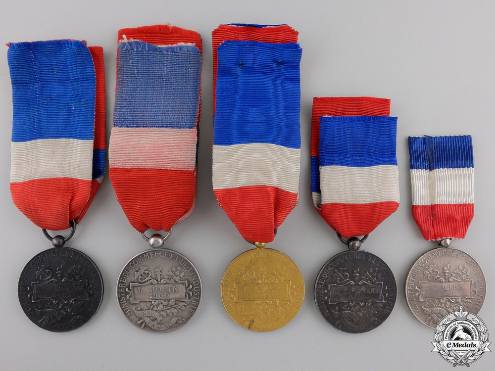 Five Early Twentieth Century French Minister of Trade and Industry Honour Medals